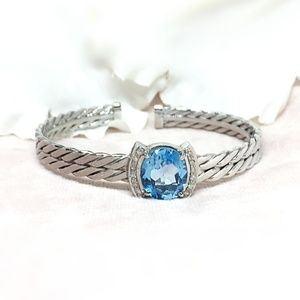 Jewelry - Topaz & Diamond Sterling Silver Bracelet